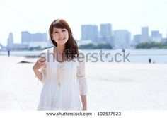 Beautiful young woman on beach summer holiday. Portrait of asian - stock photo Woman On Beach, Young Women, Summer Beach, Asian, Stock Photos, Portrait, Lace, Holiday, Beautiful