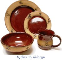 (AAP207ORR) Single 4- Piece Hand Crafted, Made in the USA, Western Stoneware Dinner Place Setting Real Red - WESTERN DINNERWARE, GLASSWARE & FLATWARE