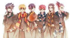 Sasuke is super Slytherin and Naruto super Gryffindor. Neji would never be Hufflepuff, fail. Sai too.