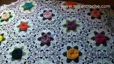 Supercroche - Toalha de Mesa em croche - Jardim Florido