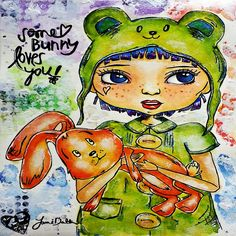 Some Bunny Loves You-Is a drawing/watercolor/ink Mixed Media of little girl with big blue eyes embracing a floppy bunny
