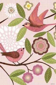 Pink Folk Birds Vert by Jennifer Brinley | Ruth Levison Design