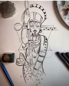Tattoo Sketches, Tattoo Drawings, Body Art Tattoos, Art Drawings, African Warrior Tattoos, African Tattoo, Norse Tattoo, Black Girls With Tattoos, Black Tattoos