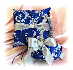 Royal Blue and Silver wedding pillow and basket by All4Brides