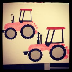 Kids foot prints on canvas made into tractor - OH MY GOODNESS! My boy will LOVE these! @Designs by Birgit J I'll bet this is one craft my nephew will enjoy too!