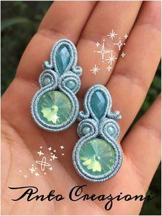 Soutache Earrings, Clay Earrings, Diamond Earrings, Shibori, Blue Christmas, Handmade Necklaces, Handmade Jewelry, Polymer Clay Charms, Monster High Dolls