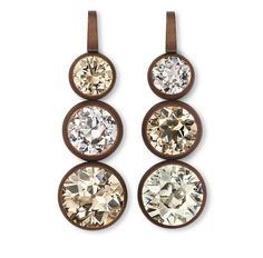 Hemmerle earrings with brown and white diamonds set in white gold and copper