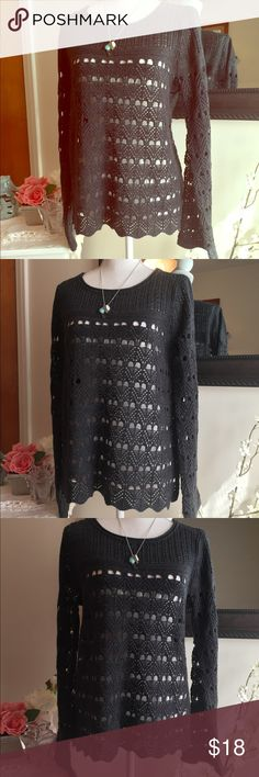 Boho Chic Black Crochet Tunic with Bell Sleeves ❤️ I just love this sweater, it has such a cute shape. Subtle bell sleeves, with a pretty pattern open weave and is so soft. I would want a size larger (I wear size large). Pretty with a bralette or cami, perfect weight for layering. Only worn once, in beautiful condition and ready for a new home.   🛍Reasonable Offers Welcome🛍  ⭐️Top Rated Seller! ⭐️Fast Shipper - Ships Same or Next Business Day!  🌷No Stains, tears or pilling 🌷Non Smoking…