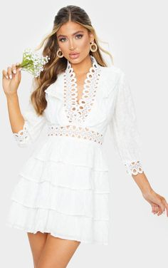 White Lace Trim Broderie Anglaise Tiered Skater Dress