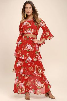Green thumb or not, you'll be fabulously flourishing in the Carefully Cultivated Red Floral Print Maxi Skirt! Vibrant red woven poly, with a pink, orange, and green, floral print, forms this tiered maxi skirt with a high-waisted fit. Hidden side zipper/clasp.