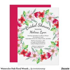 Watercolor Pink Floral Wreath Bridal Shower