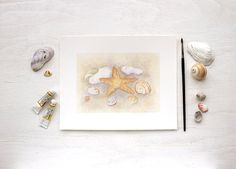 Beach Collection Watercolor Print by Kathleen Maunder (trowelandpaintbrush)