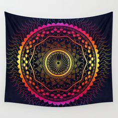 Mandala tapestry Psychedelic bohemian wall tapestry by Famenxt