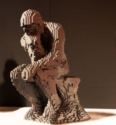 """Using only Lego bricks and his imagination, Sawaya has recreated some of the world's most famous art, like """"American Gothic"""" and """"Starry Night."""" We quiz him on facts about the original masterpieces. Lego Sculptures, Sculpture Art, Geometric Sculpture, Rodin The Thinker, American Gothic, Blow Your Mind, Famous Art, Lego Brick, Easy Paintings"""