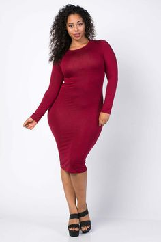 Plus Size Formfitting Midi Dress