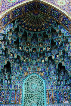 This Islamic mosaic arch would be a beautiful and colorful nook in an expensive gallery, office building, hotel, or even out door park.