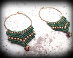 Lush Green Hand Hammered Macrame Hoop Earrings - Brass Beads & Bells - Gypsy Tribal Princess - Mama Earth