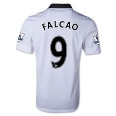 Men's 2014/15 Manchester United Falcao 9 White Away Soccer Jersey