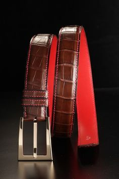 Brown #crocodile #belt by Duret Paris - Ceinture en crocodile marron