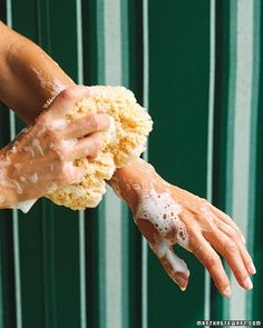 Soap in a Sponge - Put soap shards and leftover hotel soap bars to good use. Use a utility knife to slice into the center of a natural sea sponge. Then insert soap and lather up. Every last bubble will be surrendered. The soap will stay in place as it shrinks, adhering to the fibers of the sponge.