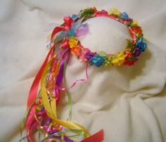 Colorful Rainbow Crown of Silk Flowers/ Wedding / Party wear by FloralCrowns, $45.00 USD