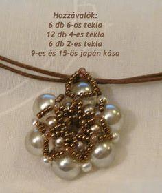 Tiszi gyöngyékszerei: Rozetta minta Beading Patterns Free, Beaded Jewelry Patterns, Jewelry Making Tutorials, Beading Tutorials, Bead Jewellery, Pendant Jewelry, Pearl Pendant, How To Make Beads, Beaded Earrings