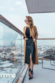 Make Work Wear More Appealing in the Winter - Leather Skirt with Camel Coat and Velvet Heels // notjessfashion.com