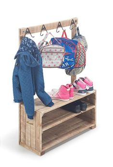 Our Children's cloakroom racks have a specially reduced height and back rail to accommodate smaller users. 4 twin hanging hooks for coats and bags with a bottom shelved bench with plenty of space for… Coat And Shoe Storage, Closet Shoe Storage, Childrens Coats, Kids Coats, Bag Rack, Kids Storage, Storage Ideas, Wooden Storage Boxes, Small Closets