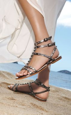 Studded sandals.