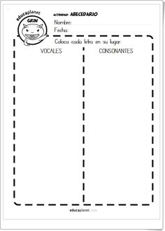 Vocales, consonantes, mayúsculas y minúsculas (Fichas de recortables) Worksheets, Lily, Activities, Children, Texts, Animal Activities, Lyrics, Teaching Resources, Learn Spanish