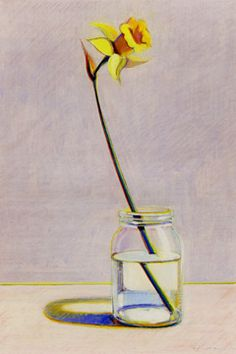 """Daffodil,"" by Wayne Thiebaud, pastel, gouache, watercolor and graphite over etching and aquatint on paper, 23 by 16 inches, 1980"