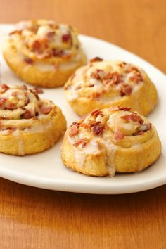 Salty and sweet maple and bacon roll-ups for Father's Day brunch!