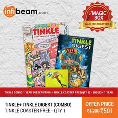 Tinkle + Tinkle Digest (Combo) 1 Year Subscription at Lowest Rate from Infibeam's MagicBox !   OFFER : Get 1 Tinkle Coaster FREE !  Assuring Lowest Price in Magic Box Deals!   HURRY ! OFFER ENDS TODAY MIDNIGHT !  #MagicBox #Deals #DealOfTheDay #Offer #Discount #LowestRates #Tinkle #Digest #Books #Magazines #1YearSubscription