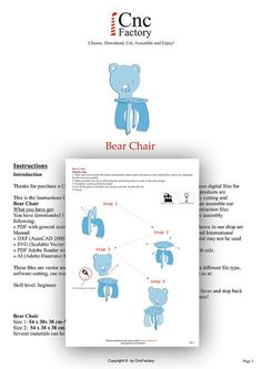 BEAR CHAIR Cnc template cutting file wooden by CncFactory