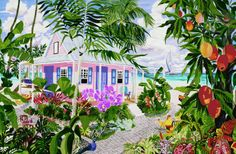 The Mango House. After a stay on Tobago, with roosters out my window eating the mangoes, I needed to paint myself a house.. So the Mango House came to be. Its available on my website as giclee prints you can order.  http://eileenseitz.com/index.php/shop-page/?cat_id=4002&art_id=137
