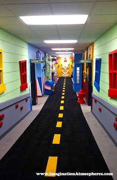 """Uptown Main Street"" Children's church theme designed by Imagination Atmospheres. www.ImaginationAtmospheres.com"