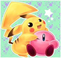 Pikachu and Kirby are best friends!