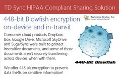 448-bit Blowfish encryption on-device and in-transit