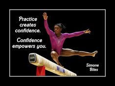 "Gymnastics Motivation Poster #2 Simone Biles Champion Photo Quote Wall Art 5x7""-11x14"" Practice Creates Confidence & Empowers-Free Ship by ArleyArt on Etsy"