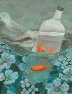 made by: Olivia Chin Mueller , illustration (Goldfish) Art Inspo, Painting Inspiration, Art And Illustration, Illustration Children, Karl Valentin, Art Amour, Fish Art, Surreal Art, Aesthetic Art