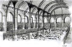 Aquarelle et encre de Chine – Bibliothèque Sainte-Geneviève – Paris. #drawing #watercolor #painting #art