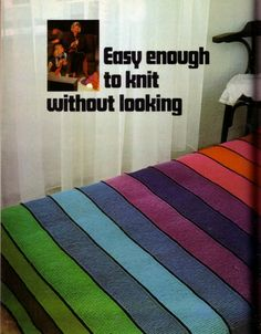 Knit for Victory: 1970s rainbow bedspread