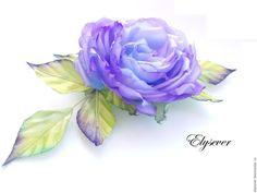 """Купить Брошь """"Роза"""" - фиолетовый, голубой, цветы из шелка, цветы из ткани, магия, волшебство, свечение"""