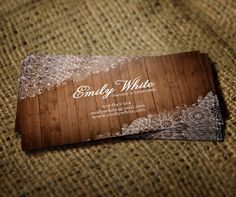 Business Card Design Flowers & Wood is a delicate and femine business card with a wood background and a floral lace design. _______________