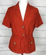 9250f6cb East 5th Short Sleeve Oversized Buttons with Tie Belt Blouse Top Size  Medium M
