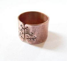 Tree ring rustic copper ring wide band ring metalwork by Mirma