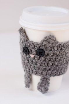 Cat crochet cup cozy  | followpics.co