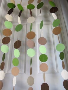 Shades of Green and Brown Garland, Baby Shower Backdrop, Jungle Garland, Earth Day Decorations, Nature Decorations, Baby Boy Shower by SuzyIsAnArtist on Etsy https://www.etsy.com/listing/97220900/shades-of-green-and-brown-garland-baby