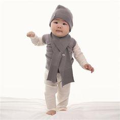 Merino Kids Essentials - Grey Melange Hat & Scarf 1-3 Years
