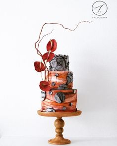 Burnt Orange with black texture wedding cake on satinice.com   Joylicious Cakes & Crafts